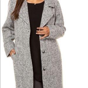 Plus Size Tweed button front pocket coat